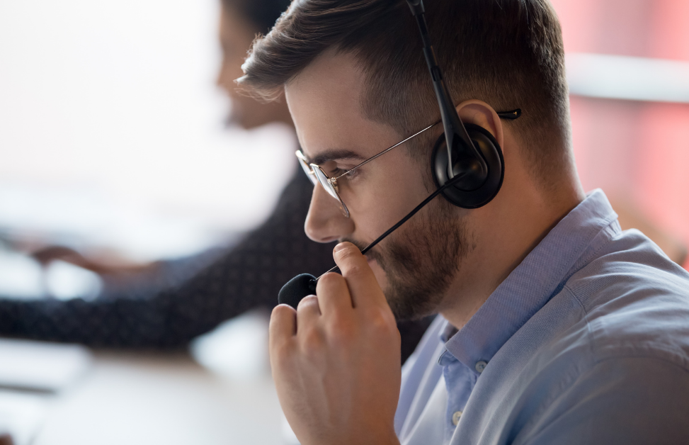 Contact centre agent on headset